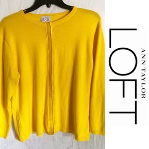 Ann Taylor Loft Yellow Cardigan Sweater with Snaps